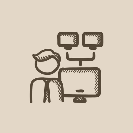 Network administrator vector sketch icon isolated on background. Hand drawn Network administrator icon. Network administrator sketch icon for infographic, website or app. Ilustração