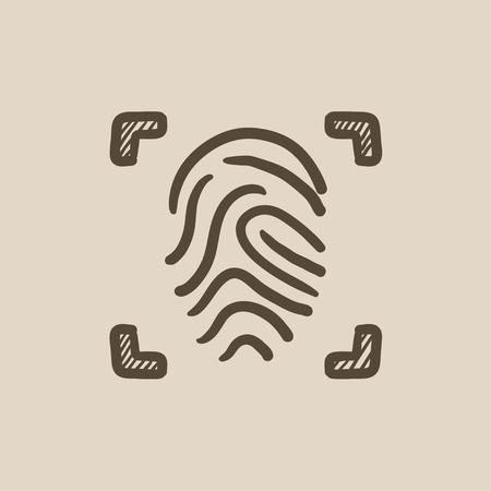 Fingerprint scanning vector sketch icon isolated on background. Hand drawn Fingerprint scanning icon. Fingerprint scanning sketch icon for infographic, website or app. Illustration