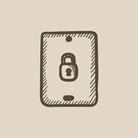 Digital tablet security vector sketch icon isolated on background. Hand drawn Digital tablet security icon. Digital tablet security sketch icon for infographic, website or app. Illustration