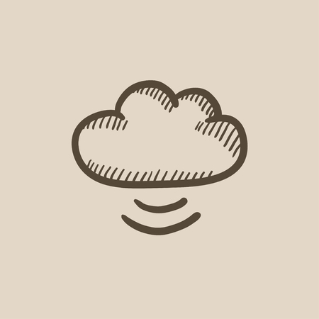 synchronizing: Cloud computing vector sketch icon isolated on background. Hand drawn Cloud computing icon. Cloud computing sketch icon for infographic, website or app.