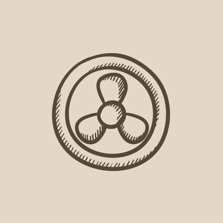 Computer cooler vector sketch icon isolated on background. Hand drawn Computer cooler icon. Computer cooler sketch icon for infographic, website or app. 矢量图像