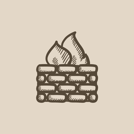 firewall: Firewall vector sketch icon isolated on background. Hand drawn Firewall icon. Firewall sketch icon for infographic, website or app.