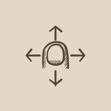 touch screen hand: Move touch screen gesture vector sketch icon isolated on background. Hand drawn Move touch screen gesture icon. Move touch screen gesture sketch icon for infographic, website or app. Illustration