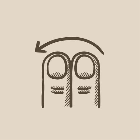 swipe: Swipe left with two fingers vector sketch icon isolated on background. Hand drawn touch screen gesture down icon. Touch screen gesture down sketch icon for infographic, website or app.