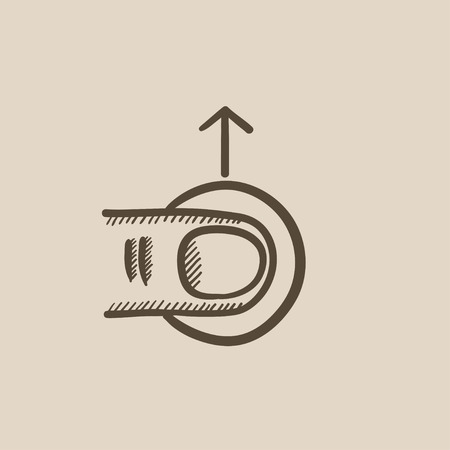 drag: Drag up touch screen gesture vector sketch icon isolated on background. Hand drawn drag up touch screen gesture icon. Drag up touch screen gesture sketch icon for infographic, website or app. Illustration