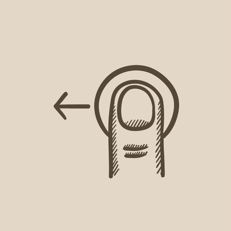 touch screen hand: Drag left touch screen gesture vector sketch icon isolated on background. Hand drawn drag left touch screen gesture icon. Drag left touch screen gesture sketch icon for infographic, website or app. Illustration