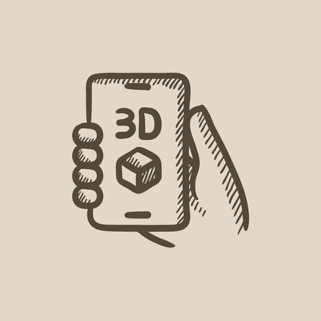 three d: Smartphone with three D box vector sketch icon isolated on background. Hand drawn Smartphone with three D box icon. Smartphone with three D box sketch icon for infographic, website or app. Illustration