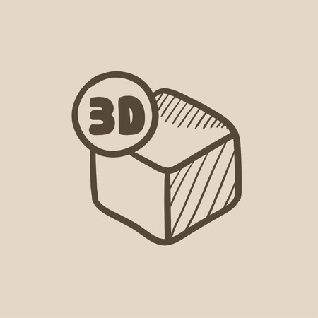 three d: Three D box vector sketch icon isolated on background. Hand drawn Three D box icon. Three D box sketch icon for infographic, website or app.