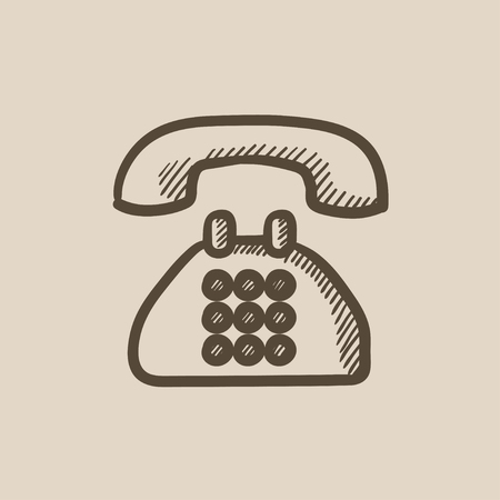 telephone icon: Telephone vector sketch icon isolated on background. Hand drawn Telephone icon. Telephone sketch icon for infographic, website or app. Illustration