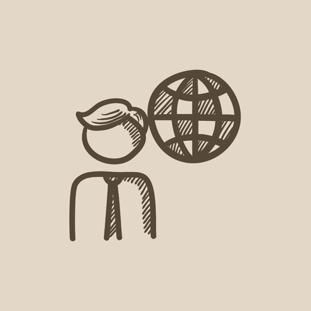 transnational: Man with globe vector sketch icon isolated on background. Hand drawn Man with globe icon. Man with globe sketch icon for infographic, website or app. Illustration