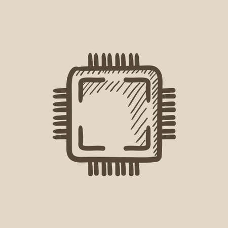 microelectronics: CPU vector sketch icon isolated on background. Hand drawn CPU icon. CPU sketch icon for infographic, website or app.