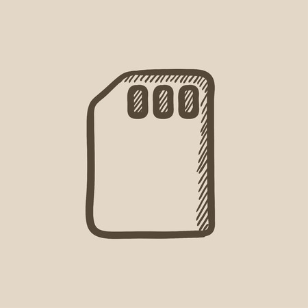 sim card: Sim card vector sketch icon isolated on background. Hand drawn Sim card icon. Sim card sketch icon for infographic, website or app.