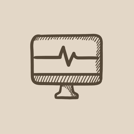 heart beat: Heart beat monitor vector sketch icon isolated on background. Hand drawn Heart beat monitor icon. Heart beat monitor sketch icon for infographic, website or app.