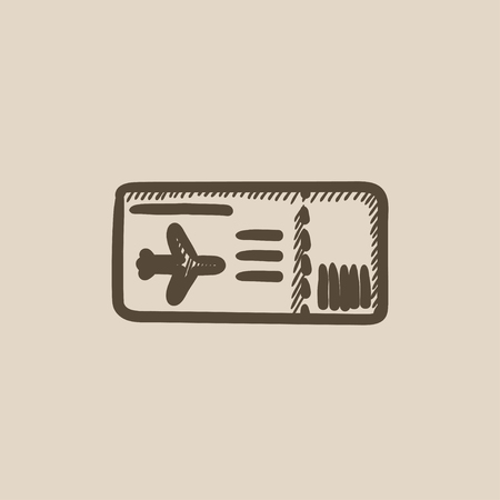 business class travel: Flight ticket vector sketch icon isolated on background. Hand drawn Flight ticket icon. Flight ticket sketch icon for infographic, website or app.