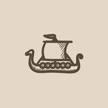 shallop: Old ship vector sketch icon isolated on background. Hand drawn Old ship icon. Old ship sketch icon for infographic, website or app.