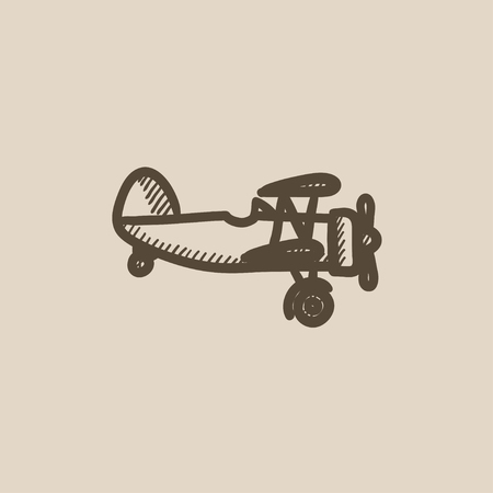 propeller: Propeller plane vector sketch icon isolated on background. Hand drawn Propeller plane icon. Propeller plane sketch icon for infographic, website or app.