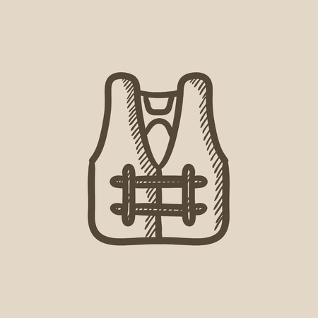 vest in isolated: Life vest vector sketch icon isolated on background. Hand drawn Life vest icon. Life vest sketch icon for infographic, website or app.
