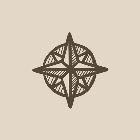 mariner: Compass wind rose vector sketch icon isolated on background. Hand drawn Compass wind rose icon. Compass wind rose sketch icon for infographic, website or app. Illustration