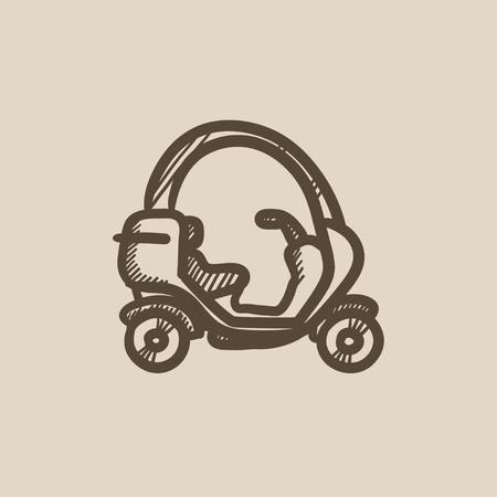 rikscha: Rikscha-Vektor Skizze Symbol auf Hintergrund isoliert. Hand-Rikscha-Symbol gezogen. Rikscha-Skizze Symbol f�r Infografik, die Website oder App.