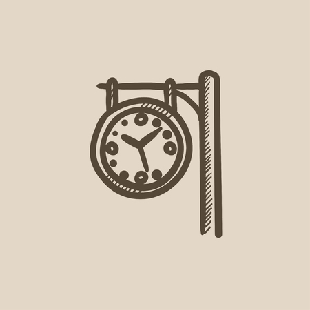Train station clock vector sketch icon isolated on background. Hand drawn Train station clock icon. Train station clock sketch icon for infographic, website or app. Çizim