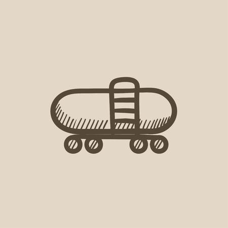 aljibe: Ferrocarril cisterna dibujo icono del vector aislado en el fondo. Dibujado a mano icono de la cisterna de ferrocarril. Ferrocarril dibujo icono de la cisterna para infografía, sitio web o aplicación. Vectores
