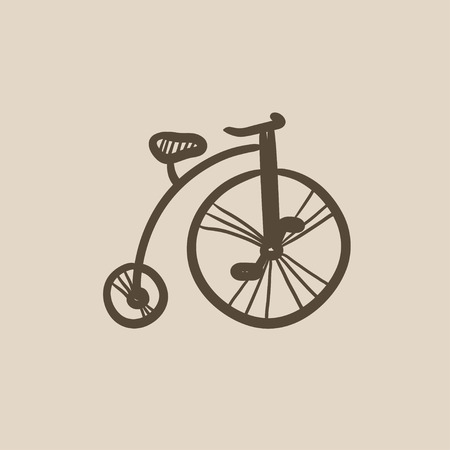 big wheel: Old bicycle with big wheel vector sketch icon isolated on background. Hand drawn Old bicycle with big wheel icon. Old bicycle with big wheel sketch icon for infographic, website or app.