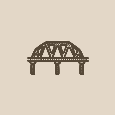 rail: Rail way bridge vector sketch icon isolated on background. Hand drawn Rail way bridge icon. Rail way bridge sketch icon for infographic, website or app. Illustration