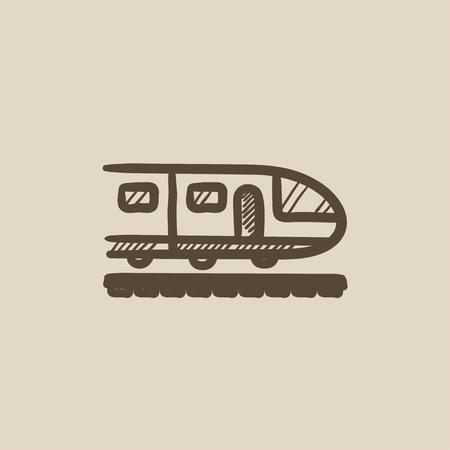 現代の高速鉄道ベクトル スケッチ アイコン背景に分離されました。手描きの近代的な高速鉄道アイコン。現代の高速鉄道は、インフォ グラフィッ