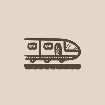 Modern high speed train vector sketch icon isolated on background. Hand drawn Modern high speed train icon. Modern high speed train sketch icon for infographic, website or app. Фото со стока - 59378668