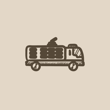 camion: Fire truck vector sketch icon isolated on background. Hand drawn Fire truck icon. Fire truck sketch icon for infographic, website or app.
