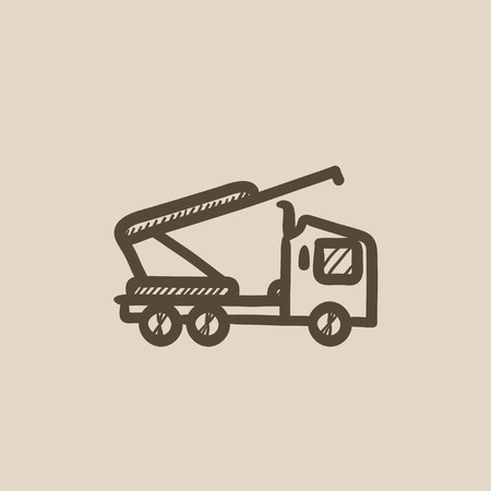 auto hoist: Machine with crane and cradles vector sketch icon isolated on background. Hand drawn Machine with crane and cradles icon. Machine with crane and cradles sketch icon for infographic, website or app.