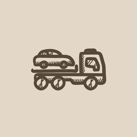 Car towing truck vector sketch icon isolated on background. Hand drawn Car towing truck icon. Car towing truck sketch icon for infographic, website or app.