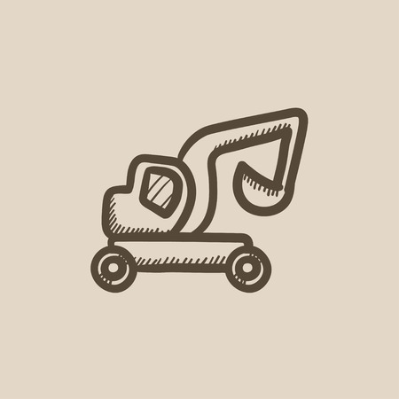 Excavator truck vector sketch icon isolated on background. Hand drawn Excavator truck icon. Excavator truck sketch icon for infographic, website or app. Illustration