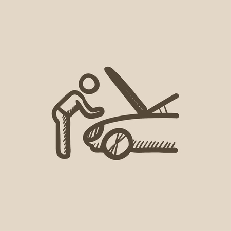 fixing: Man fixing car vector sketch icon isolated on background. Hand drawn Man fixing car icon. Man fixing car sketch icon for infographic, website or app.