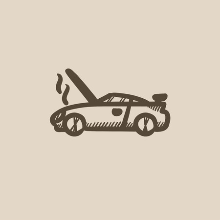 overheat: Broken car with open hood vector sketch icon isolated on background. Hand drawn Broken car with open hood icon. Broken car with open hood sketch icon for infographic, website or app.