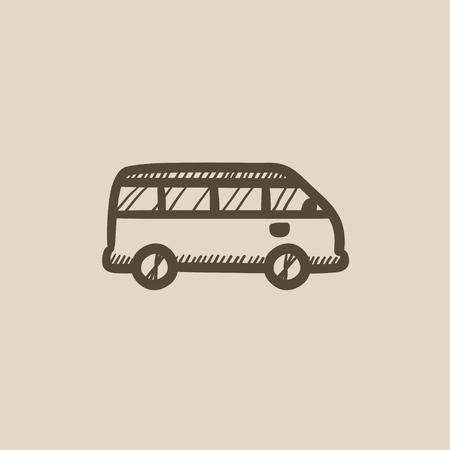 minibus: Minibus vector sketch icon isolated on background. Hand drawn Minibus icon. Minibus sketch icon for infographic, website or app. Illustration