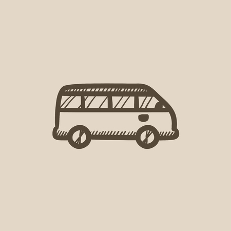 Minibus vector sketch icon isolated on background. Hand drawn Minibus icon. Minibus sketch icon for infographic, website or app. Illustration