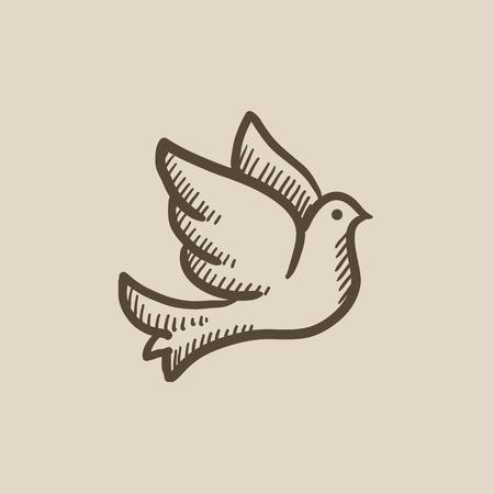 Colomba di nozze icona del disegno vettoriale isolato su sfondo. A mano icona colomba di nozze. Wedding colomba icona schizzo infografica, sito web o un'applicazione. Archivio Fotografico - 59378886