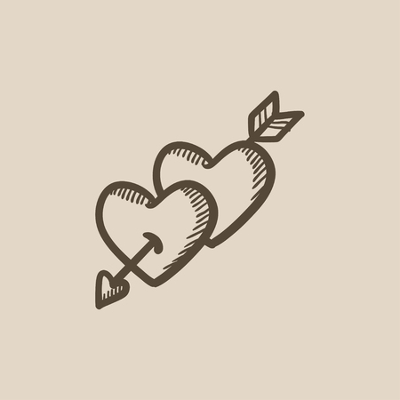 Two hearts pierced with arrow vector sketch icon isolated on background. Hand drawn Two hearts pierced with arrow icon. Two hearts pierced with arrow sketch icon for infographic, website or app. Stock Illustratie