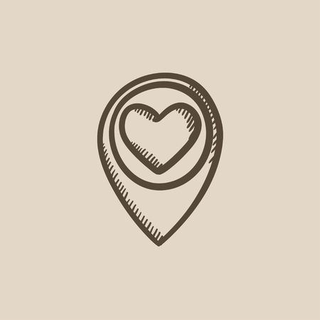 position d amour: Map pointer with heart vector sketch icon isolated on background. Hand drawn Map pointer with heart icon. Map pointer with heart sketch icon for infographic, website or app.