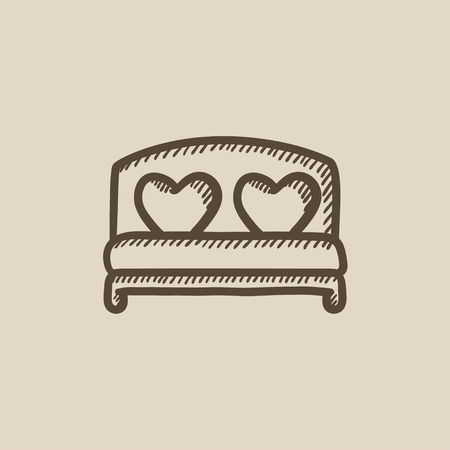 marriage bed: Heart shaped pillows on bed vector sketch icon isolated on background. Hand drawn Heart shaped pillows on bed icon. Heart shaped pillows on bed sketch icon for infographic, website or app.