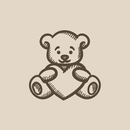 osos de peluche: Teddy bear with heart vector sketch icon isolated on background. Hand drawn Teddy bear with heart icon. Teddy bear with heart sketch icon for infographic, website or app.