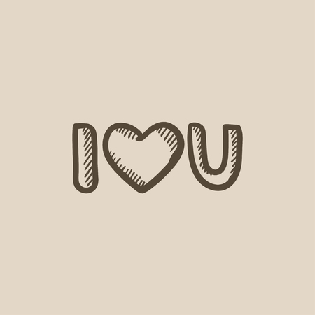 i love u: Abbreviation i love you vector sketch icon isolated on background. Hand drawn Abbreviation i love you icon. Abbreviation i love you sketch icon for infographic, website or app.