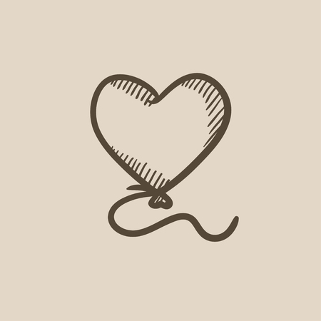 event icon: Heart balloon vector sketch icon isolated on background. Hand drawn Heart balloon icon. Heart balloon sketch icon for infographic, website or app. Illustration