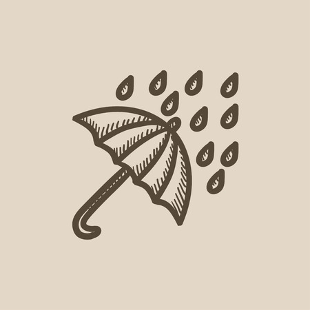 Rain and umbrella vector sketch icon isolated on background. Hand drawn Rain and umbrella icon. Rain and umbrella sketch icon for infographic, website or app. Illustration