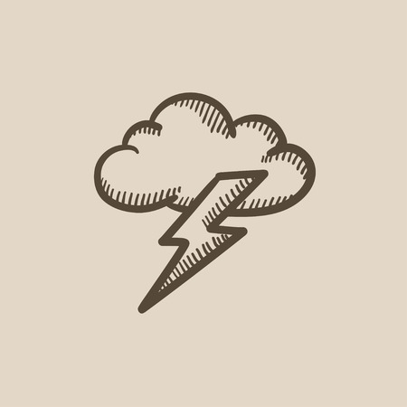 atmospheric: Cloud and lightning bolt vector sketch icon isolated on background. Hand drawn Cloud and lightning bolt icon. Cloud and lightning bolt sketch icon for infographic, website or app.