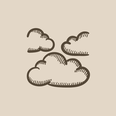 stormcloud: Clouds vector sketch icon isolated on background. Hand drawn Clouds icon. Clouds sketch icon for infographic, website or app.