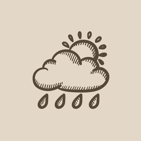 Cloud with rain and sun vector sketch icon isolated on background. Hand drawn Cloud with rain and sun icon. Cloud with rain and sun sketch icon for infographic, website or app. Stock Vector - 59261150