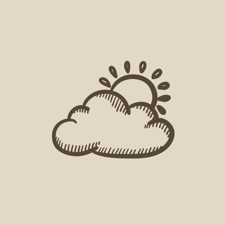 Sun with cloud vector sketch icon isolated on background. Hand drawn Sun with cloud icon. Sun with cloud sketch icon for infographic, website or app.