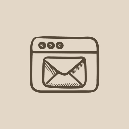 website window: Browser window with electronic mail vector sketch icon isolated on background. Hand drawn Browser window with email icon. Browser window with email sketch icon for infographic, website or app.